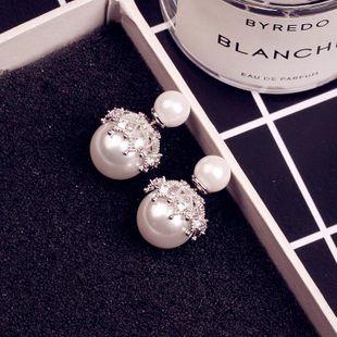 Aretes tallados con diamantes y perlas de doble cara NHLJ175849's discount tags