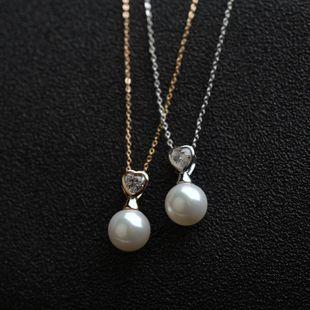Collar de aleación chapado en oro rosa y cadena de clavícula de perlas de diamantes NHLJ175848's discount tags