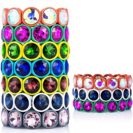 Crystal bracelet alloy paint color retaining bracelet men and women general elastic bracelet punk wind NHLN175541's discount tags