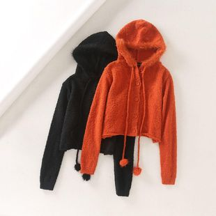 Invierno retro lindo pelo bola suéter de terciopelo botón con capucha NHAM175599's discount tags
