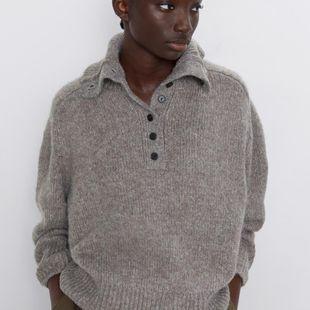 Invierno nuevo suéter de solapa con hebillas para mujer suéter casual mujer NHAM175633's discount tags