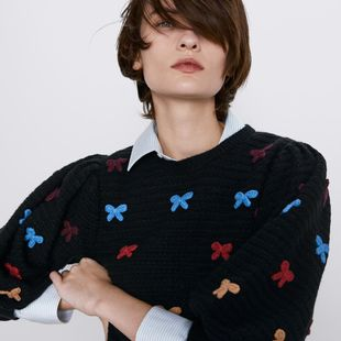 Suéter para mujer de punto con lazo con textura NHAM175661's discount tags