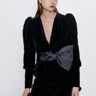 Lazo suelto con cuello en V y chaqueta de terciopelo NHAM175658's discount tags