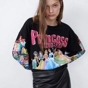 Suéter para mujer estampado princesa suelto más terciopelo NHAM175660's discount tags