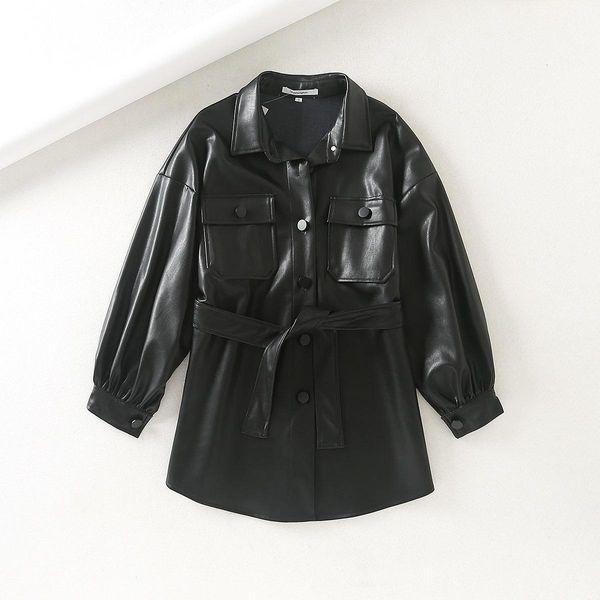 Leather jacket silhouette pocket buckle loose version strap tie NHAM175597