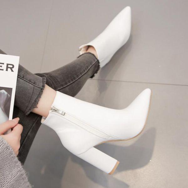 Zapatos de mujer botines blancos de tacón alto grueso puntiagudo Martin botas mujer NHSO175740