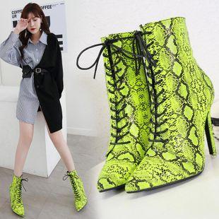 Zapatos de mujer con botas de piel de serpiente puntiagudas de tacón alto Martin boots  NHSO175741's discount tags