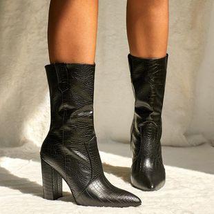 Zapatos de mujer Martin botas en el tubo patrón de cocodrilo grueso con botas de mujer de tacón alto puntiagudo NHSO175745's discount tags
