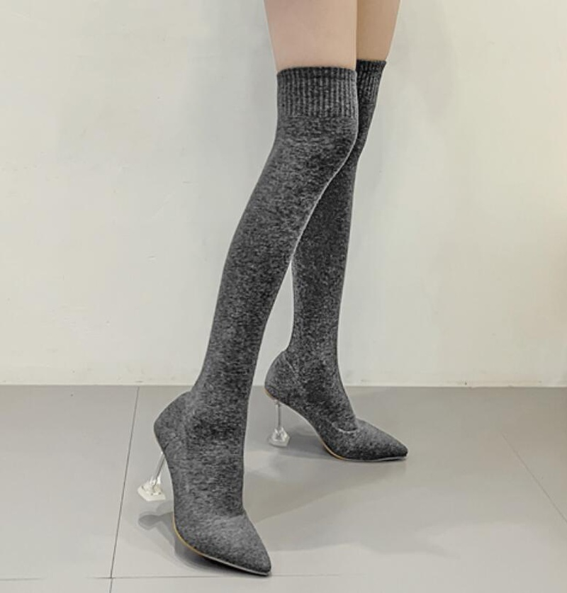 Women's shoes pointed thin high boots boots socks high heel stretch over the knee women's boots NHSO175749