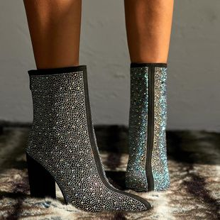 Zapatos de mujer de gran tamaño sexy de diamantes de imitación gruesas botas puntiagudas de tacón alto botas de mujer NHSO175744's discount tags