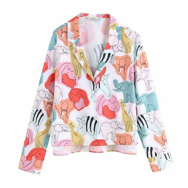 Animal print blouse top NHAM175664