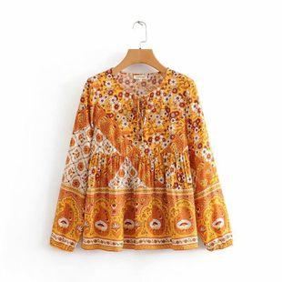 Otoño e invierno mañana gloria posicionamiento impresión blusa de encaje camisa de manga larga NHAM175583's discount tags
