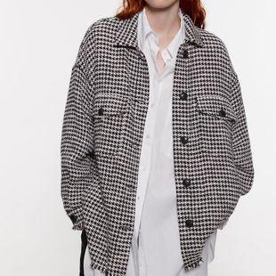 Chaqueta de camisa de tweed de solapa de manga larga NHAM175590's discount tags
