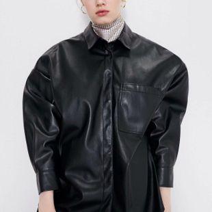 Blusa larga de cuero sintético suelta de longitud media NHAM175596's discount tags