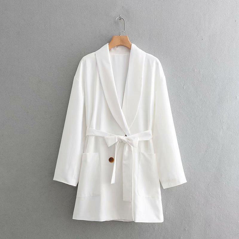 Belted women's long blazer NHAM175615