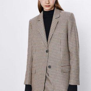 Nuevo blazer casual de pata de gallo para mujer NHAM175621's discount tags