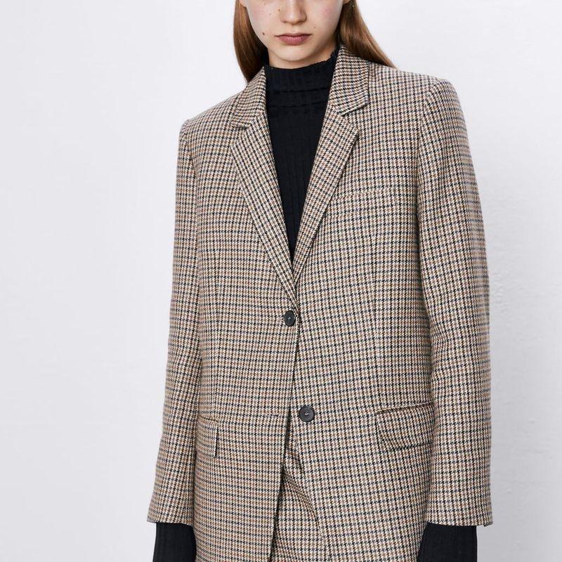 New women's houndstooth casual blazer NHAM175621