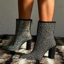 Chaussures pour femmes grande taille sexy strass de luxe pais talon haut bottes pointues bottes pour femmes NHSO175744
