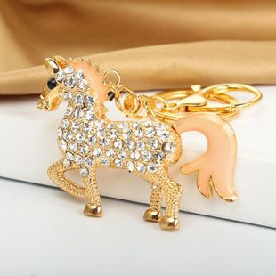 Full diamond color pony keychain creative cute animal key bag pendant couple small gift NHDP176209's discount tags