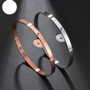 Pulsera de acero inoxidable liso DIY accesorios de reloj de pulsera de oro rosa abierto NHHF176027's discount tags