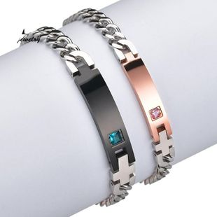 Jane Lettering Bracelet Stainless Steel Chain Diamond Couple Bracelet NHHF176038's discount tags
