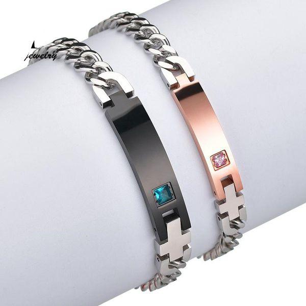 Jane Lettering Bracelet Cadena de acero inoxidable Diamond Bracelet NHHF176038