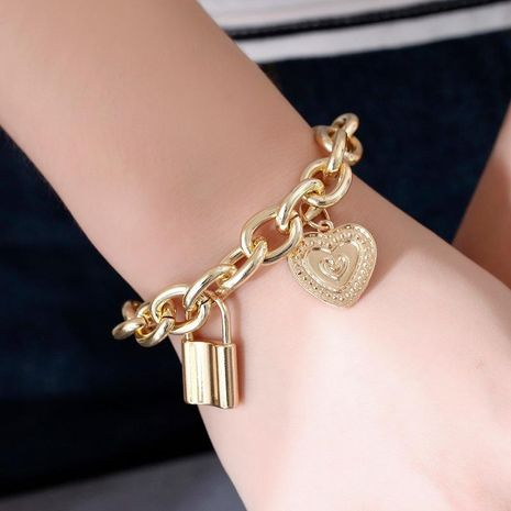 Bracelet punk style hip-hop thick chain lock bracelet new couple jewelry NHDP176211's discount tags