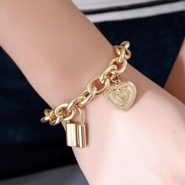 Bracelet punk style hip-hop thick chain lock bracelet new couple jewelry NHDP176211