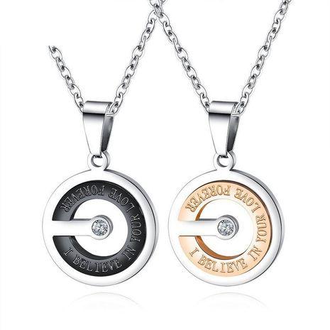 Chaîne de clavicule simple creux incrusté de zircons hommes et femmes modèles pendentif en acier titane couple collier NHOP176012's discount tags