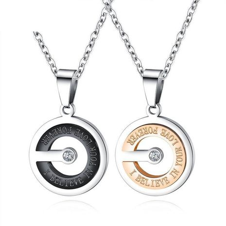 Simple clavicle chain hollow inlaid zircon men and women models pendant titanium steel couple necklace NHOP176012's discount tags