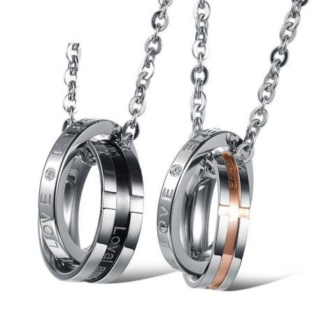 Jewelry small gift cross ring buckle titanium steel couple necklace NHOP176016's discount tags