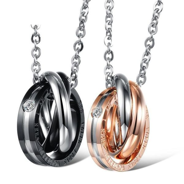 Jewelry small gift ring interlocking titanium steel couple necklace NHOP176015