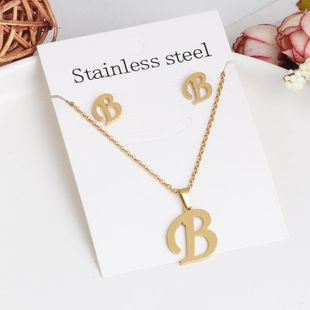 New simple letter necklace earrings set of 26 letters simple creative jewelry stainless steel NHJJ176126's discount tags