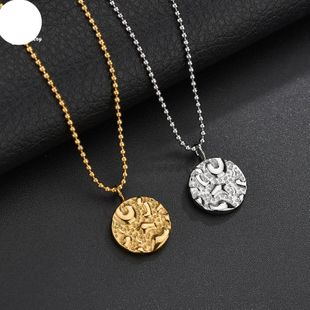 Simple and irregular concave surface ring tag female necklace stainless steel chain NHHF176028's discount tags