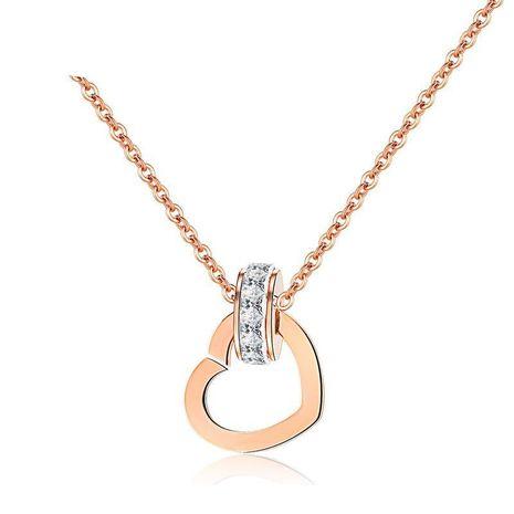 Pendentif amour en or rose micro-incrusté chaîne de clavicule en acier au titane section courte NHOP176011's discount tags