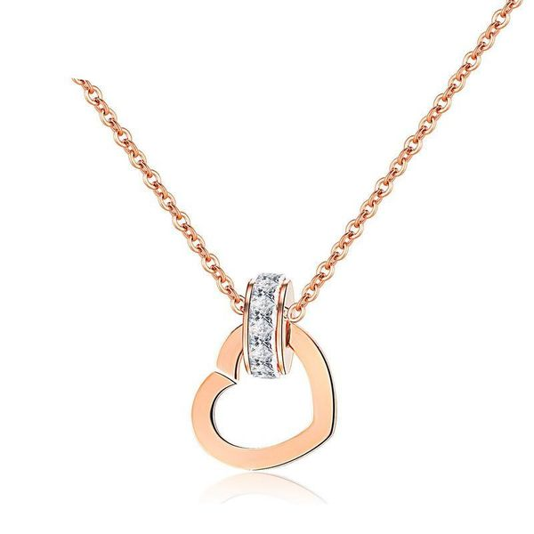 Micro-inlaid rose gold love pendant titanium steel clavicle chain short section NHOP176011