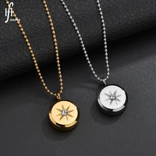 Fashion Diamond Round Titanium Steel Gold Starlight Pendant Necklace Female Clavicle Chain NHHF176030's discount tags