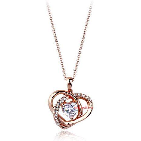 Popular delicate diamond heart zircon necklace fashion jewelry NHLJ175917's discount tags