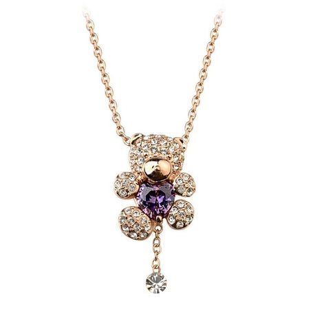 Mignon plein diamant cristal ours pendentif collier chaîne pull bijoux NHLJ175922's discount tags