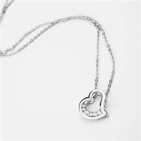 Jewelry simple zircon necklace cute heart-shaped pendant clavicle chain NHLJ175939's discount tags