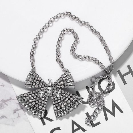 New tide alloy diamond bow necklace simple sweater chain fashion accessories NHJQ176202's discount tags