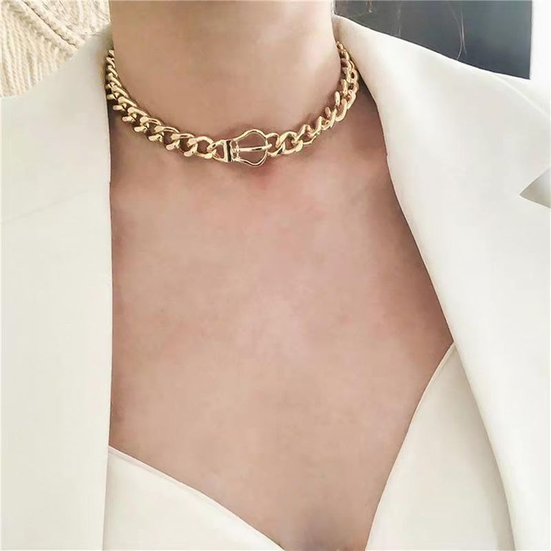 Fashion punk style metal thick chain texture wild necklace NHMD175891