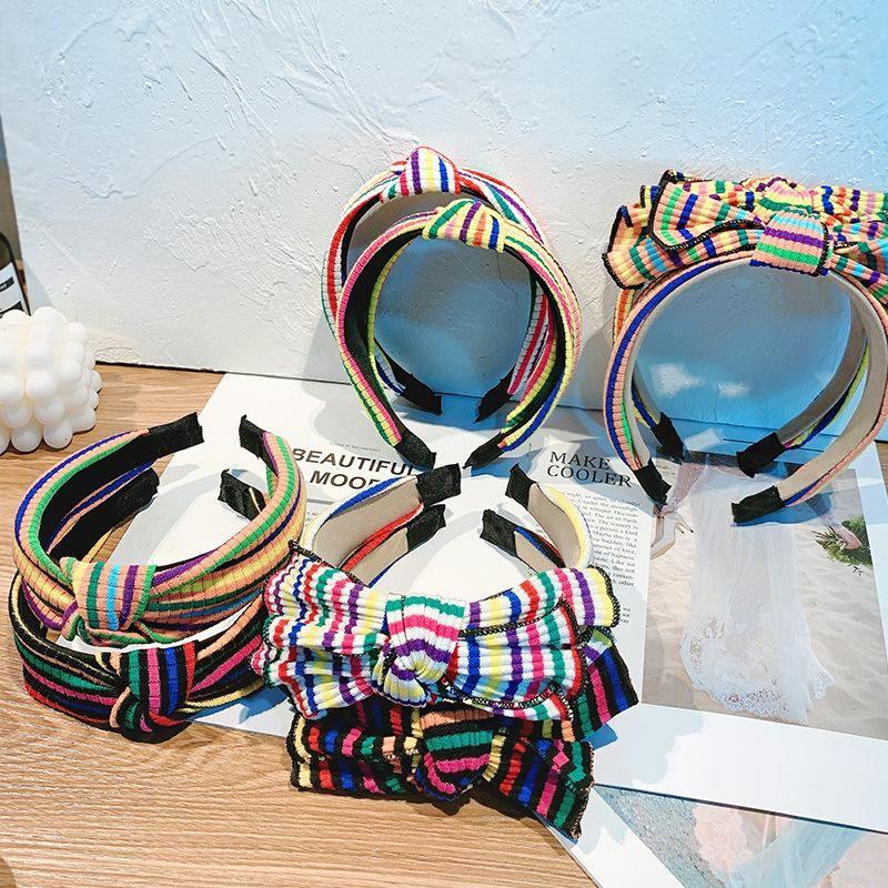 Knitted curling bow color stripe wide-brimmed headband female simple fashion headband hair accessory NHOF176058