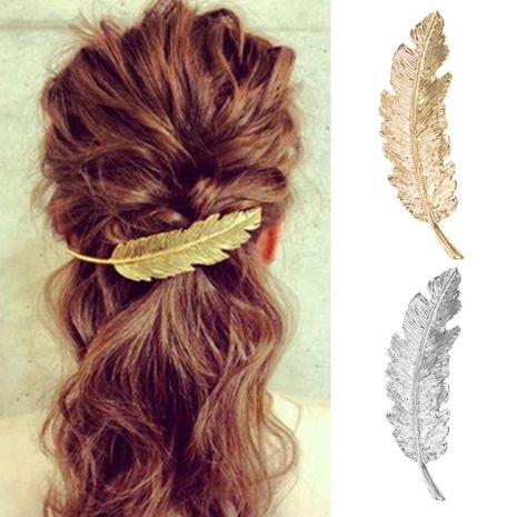 Vintage feather hairpin metal texture leaf spring clip hair accessory NHMD175883's discount tags