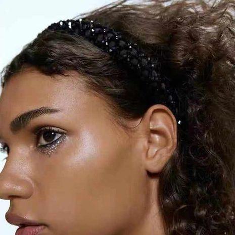 High-grade black crystal woven headband female temperament wide-side sponge headband autumn and winter new NHJE176154's discount tags