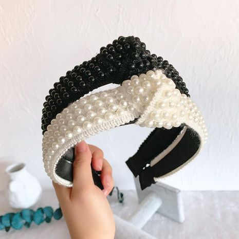 Headband headdress handmade pearl simple wide-brimmed hairpin hair band hair accessories adult NHOF176042's discount tags