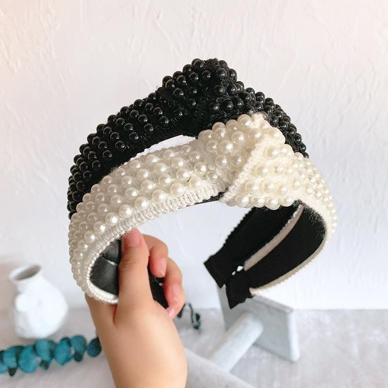 Headband headdress handmade pearl simple widebrimmed hairpin hair band hair accessories adult NHOF176042