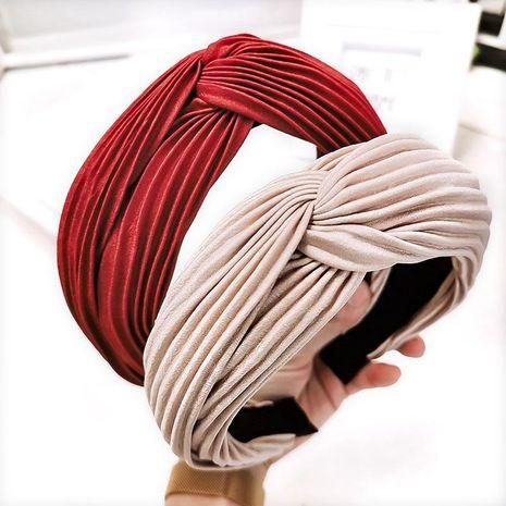Headband solid color crease cross tiara hairpin headband ladies NHOF176055's discount tags
