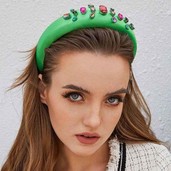 New Headband Thick Sponge Baroque Hair Accessories Fashion Smooth Satin High-grade Glass Drill NHMD175877
