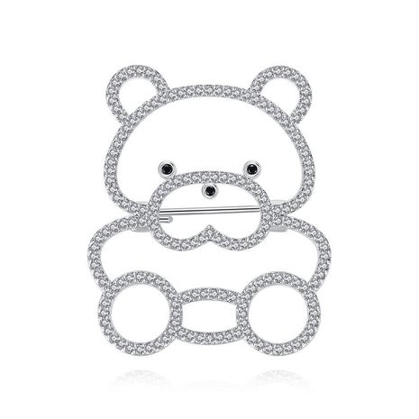 Brooch fashion cute little bear lady copper inlaid zirconium brooch accessories NHTM175987's discount tags